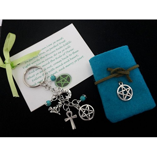 pagan protection bag charm key ring witches charms